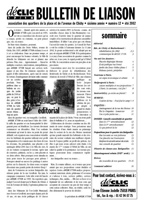 Bulletin de liaison N° 12