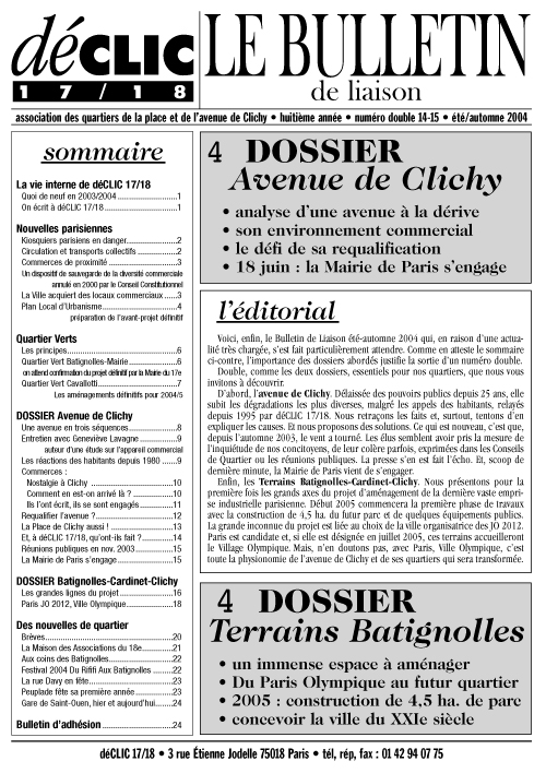 Bulletin de liaison N° 14 - 15